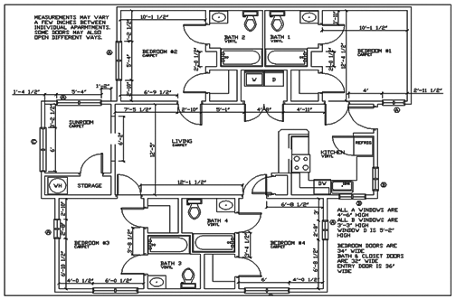 Ncsu apartment university woods floor plans for Floor plans lafayette college